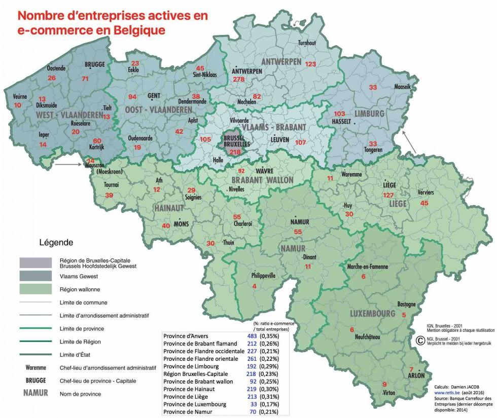 Carte De La Wallonie Belgique.Carte E Commerce Belgique Retis 9 2016 Regional It