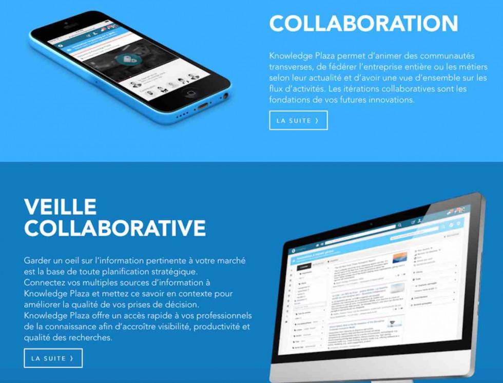 veile collaborative, Knowledge Palaza écran
