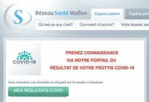 Réseau Santé Wallon - résultats test PCR Covid